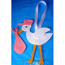 Cicogna per nascita in feltro colorato - Cicogna da giardino per nascita ...
